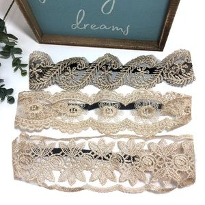 Lot of 3 Lace Stretch Boho Statement Headbands